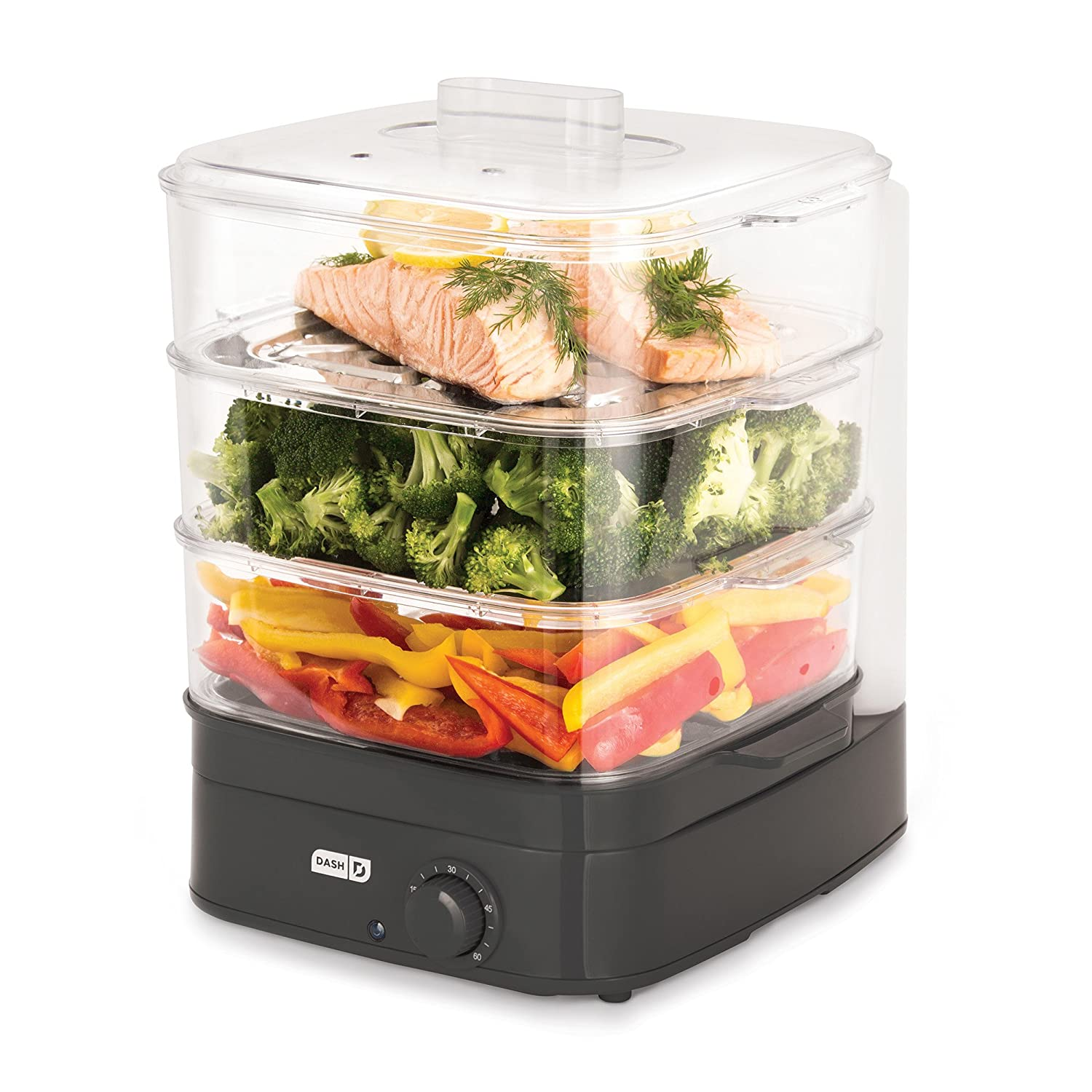 dash dis001gy instant food steamer gray launchpad