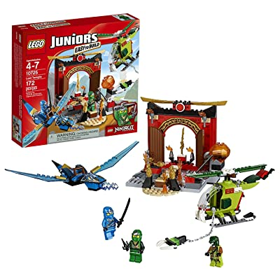 Lego Year 2016 Juniors Ninjago Series Set #10725 - LOST TEMPLE with Blue Dragon, Helicopter Plus Lloyd, Jay & Snake Villain Minifigures (Pieces: 172): Toys & Games