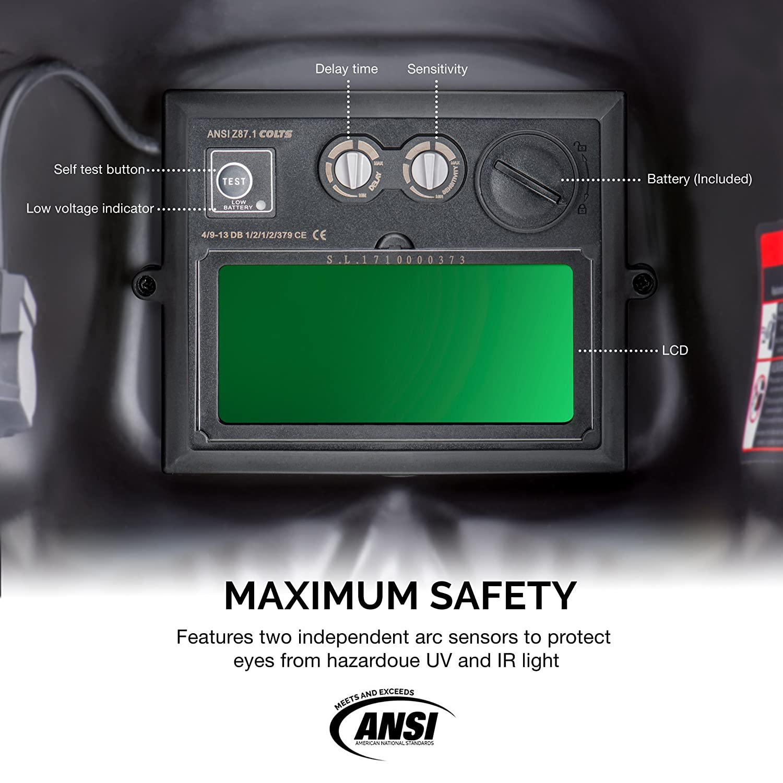 Neiko 53932A Auto-Darkening TIG//MIG Welding Helmet Solar and Battery Powered with Red Skeleton Design