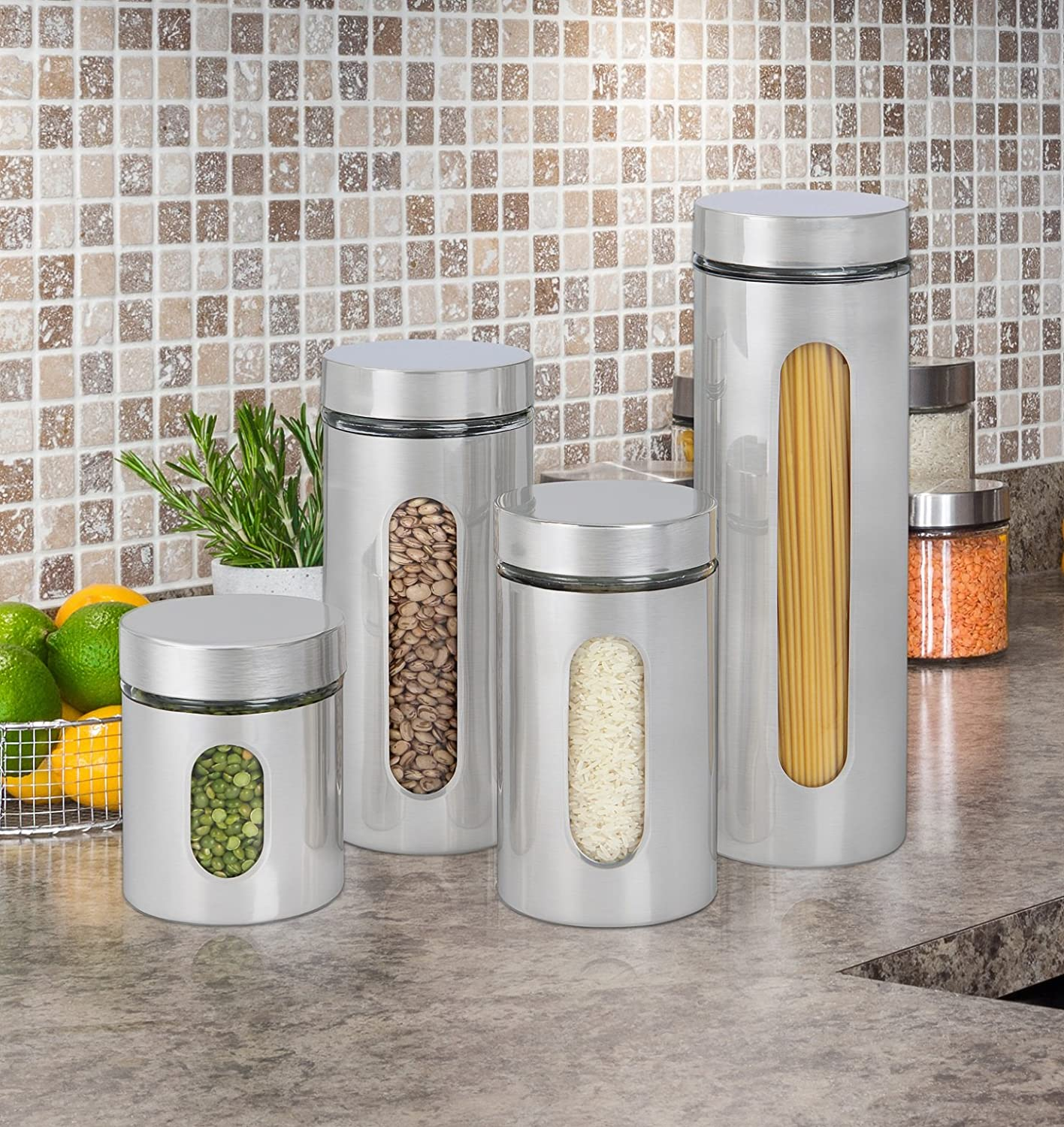 Stainless Steel Canister Set Kitchen Storage Containers ...