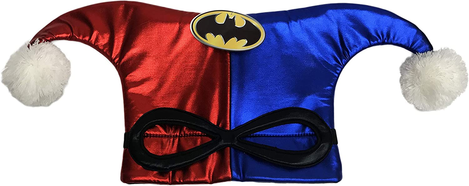 Harley Quinn Red and Blue Plush Costume Jester Hat & Mask