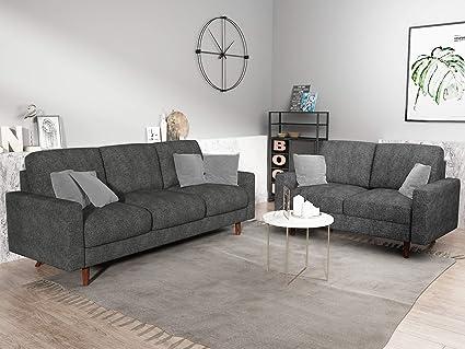 Container Furniture Direct S5420-2PC Triangular Century Ultra Modern Velvet  Upholstered 2 Piece Living Room Sofa Set, Gray