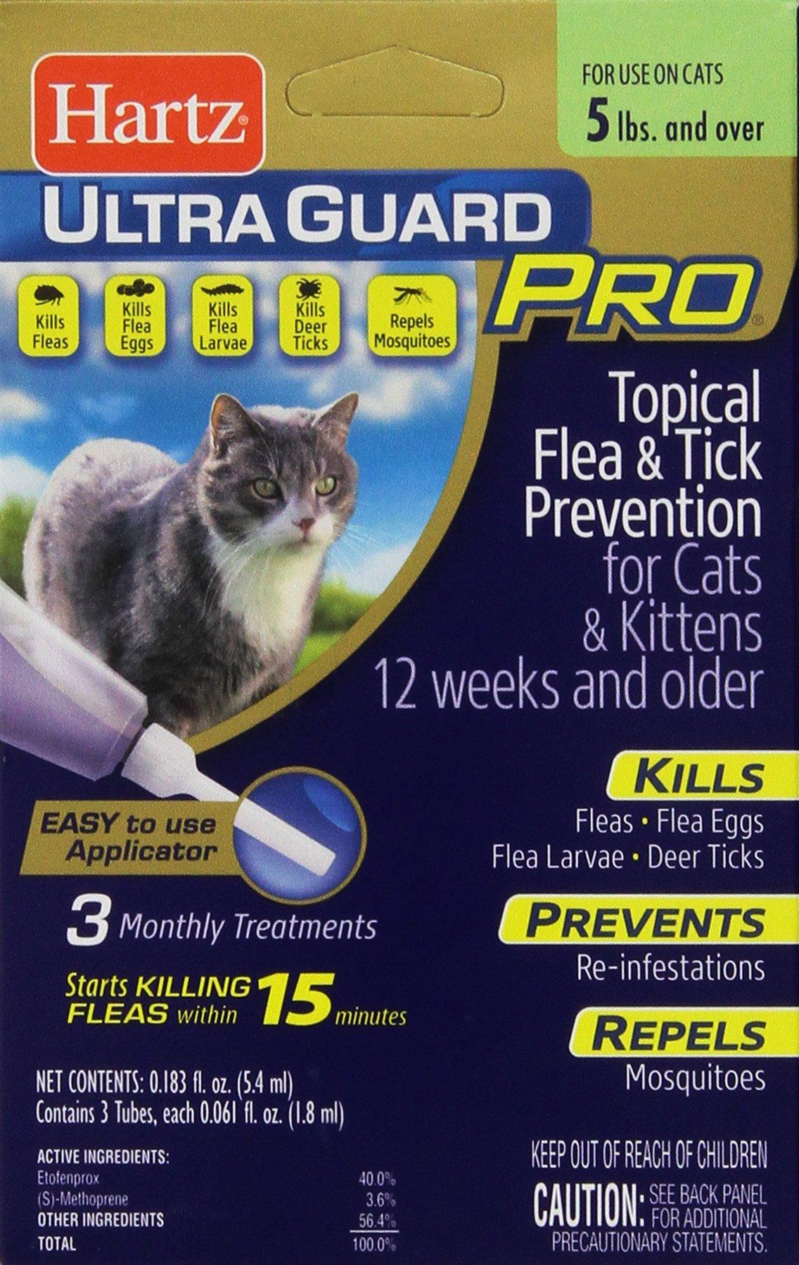 HARTZ UltraGuard Pro Flea & Tick Drops for Cats & Kittens - 3 Monthly Treatments