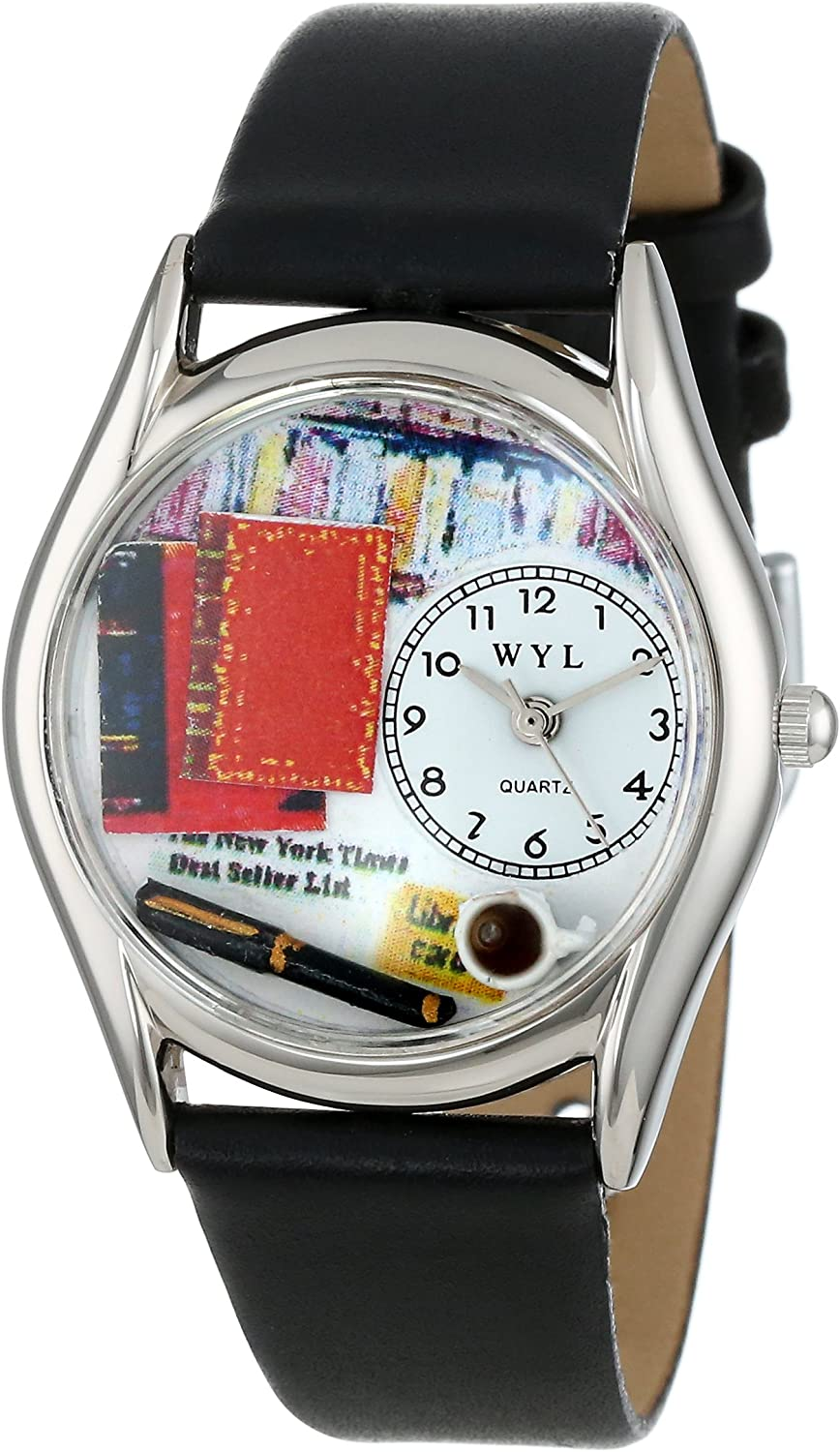 Whimsical Watches Women s S0450003 Book Lover Black Leather Watch