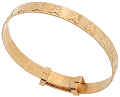 Smart 9ct Gold Medium Teddy Expanding Baby Bangle New Fine Jewelry