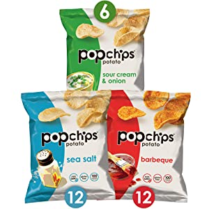 Popchips Potato Chips Variety Pack Single Serve Bags , 3 flavors: 12 Sea Salt, 12 BBQ, 6 Sour Cream & Onion, 0.8 oz Bags Each, Pack of 30