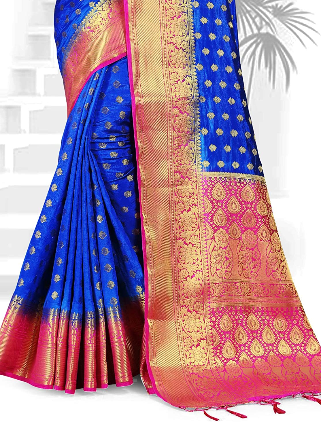 Elina fashion Sarees for Women Banarasi Art Silk Woven Saree l Indian Wedding Gift Sari with Unstitched Blouse