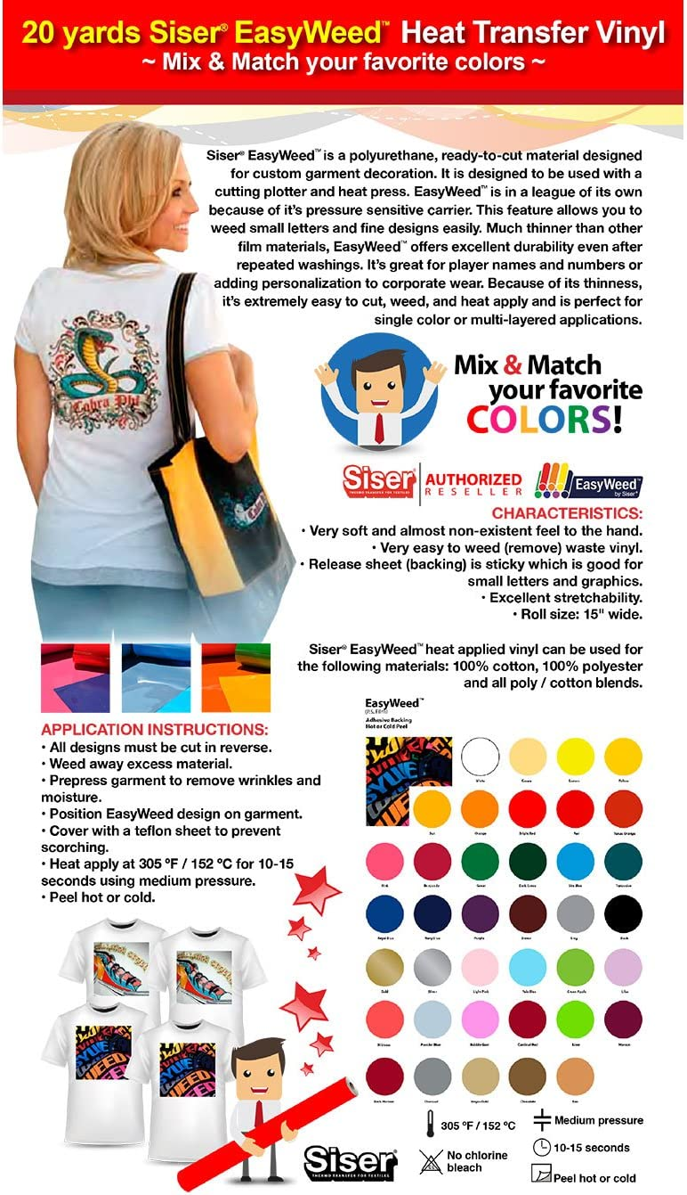 Siser Easyweed GERCUTTER Store Mix /& Match 10 Colors max. or 2 Yards Per Color Minimum 20 Yards Siser EasyWeed Heat Transfer Vinyl Iron On