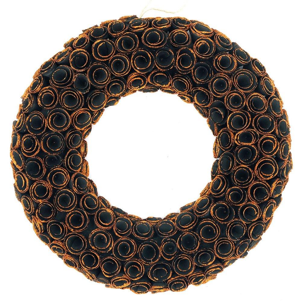 Idyllic 18'' Boxwood Halloween Wreath Curled Roses Wreath for Front Door & Indoor, Home Décor