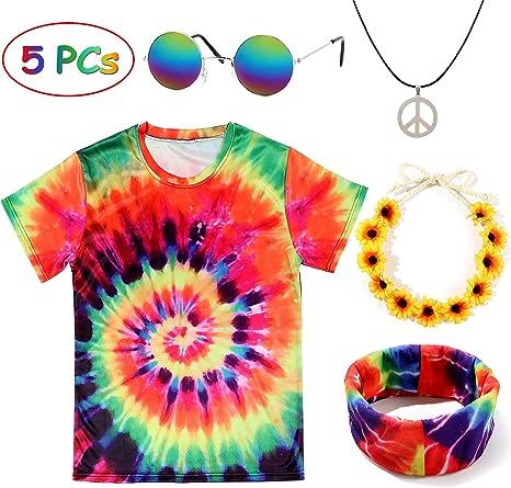 Tacobear Hippie Disfraz Mujer Hombre Gafa Hippie Collar Hippie Hippie T-Shirt Hippie Diadema Girasol Diadema Hippie Accesorios per Fiesta Party ...