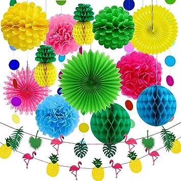Aneco 15 Pieces Ete Fete Decoration Kit Tissu Ananas Papier Pom Poms