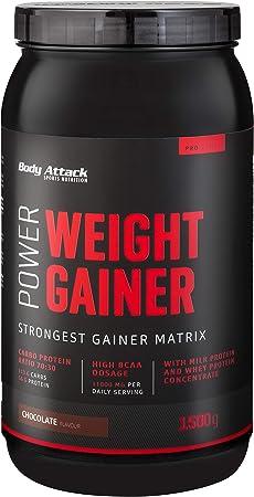 Body Attack Power Weight Gainer (aumento de peso), chocolate, 1,5 kg, 100% desarollo masa, carbohidrato- proteína en polvo para el aumento muscular ...