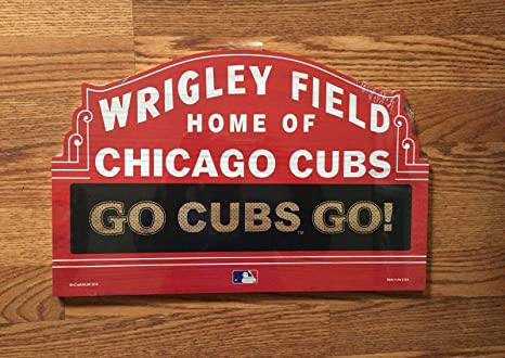Amazoncom Bek Chicago Cubs Wrigley Field Go Cubs Wood Sign 11x17