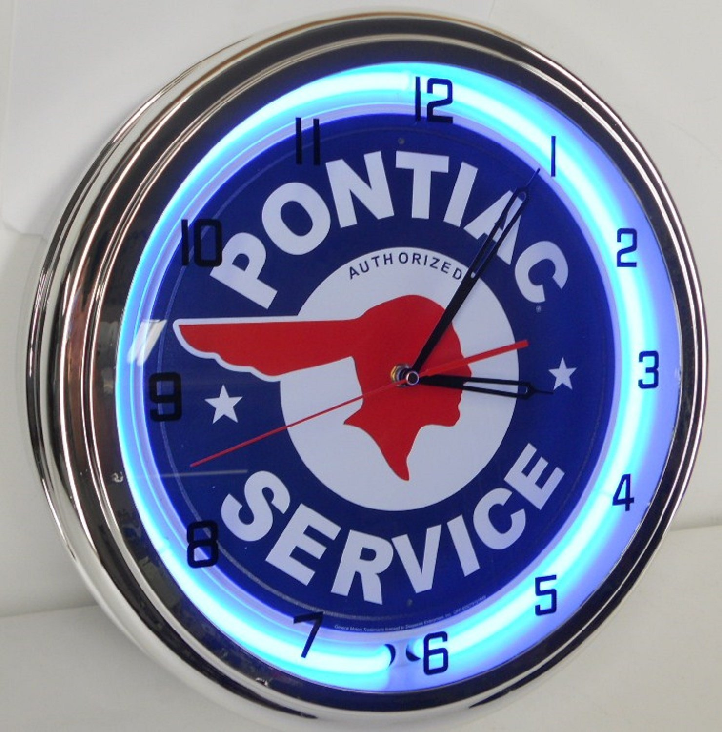 Pontiac Service 15'' Neon Clock Parts Car Garage Emblem Logo Sign Judge Firebird Blue by Pontiac