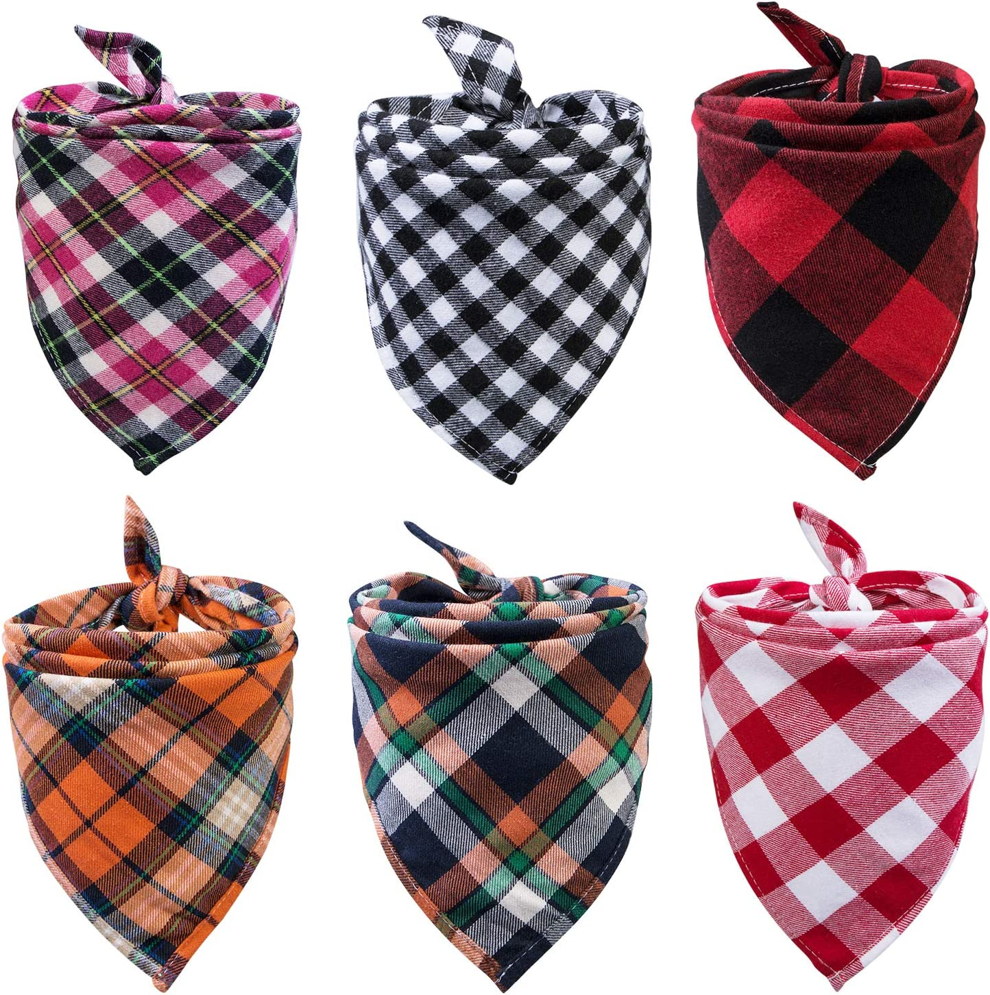 6 Pack of Dog Bandana Washable Reversible Triangle Bibs Scarf, Plaid Painting Kerchief for Small/Medium Dogs and Cats : Pet Supplies