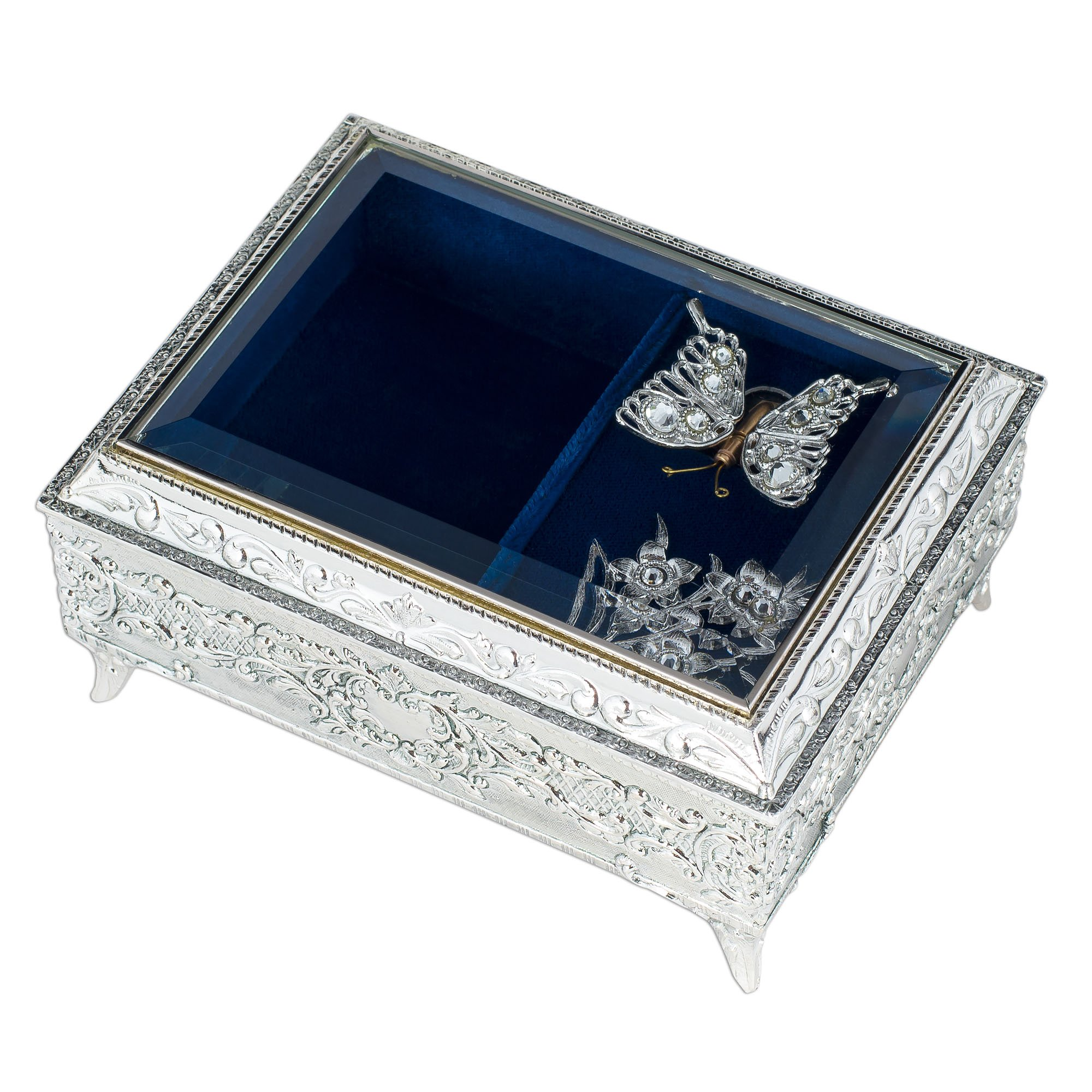 Metal and Glass Jewelry Music Box with Swarovski Crystals - Plays Rachmaninoff 18th Variation