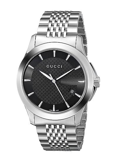 86344abee1913 Gucci Men's YA126402 G-Timeless Medium Black Dial Stainless-Steel ...
