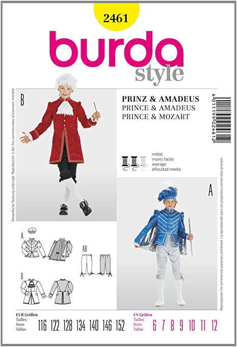 Amazon.com: Burda 2461 Sewing Pattern Childrens Costume Amadeus ...