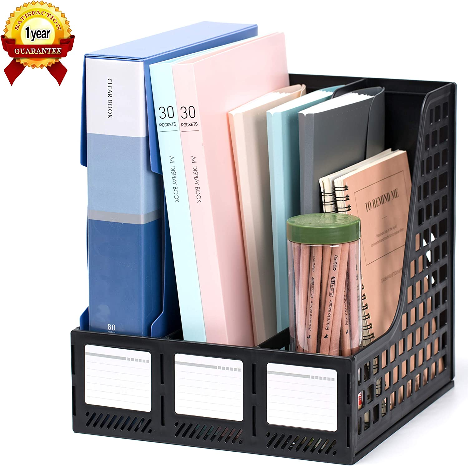 Leven Sturdy Magazine File Holder Desk Organizer File Folder for Office  Organization and Storage with 45 Vertical Compartments,