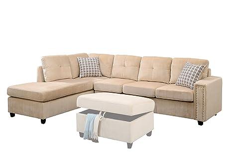 ACME Belville Beige Velvet Reversible Sectional Sofa with Pillows