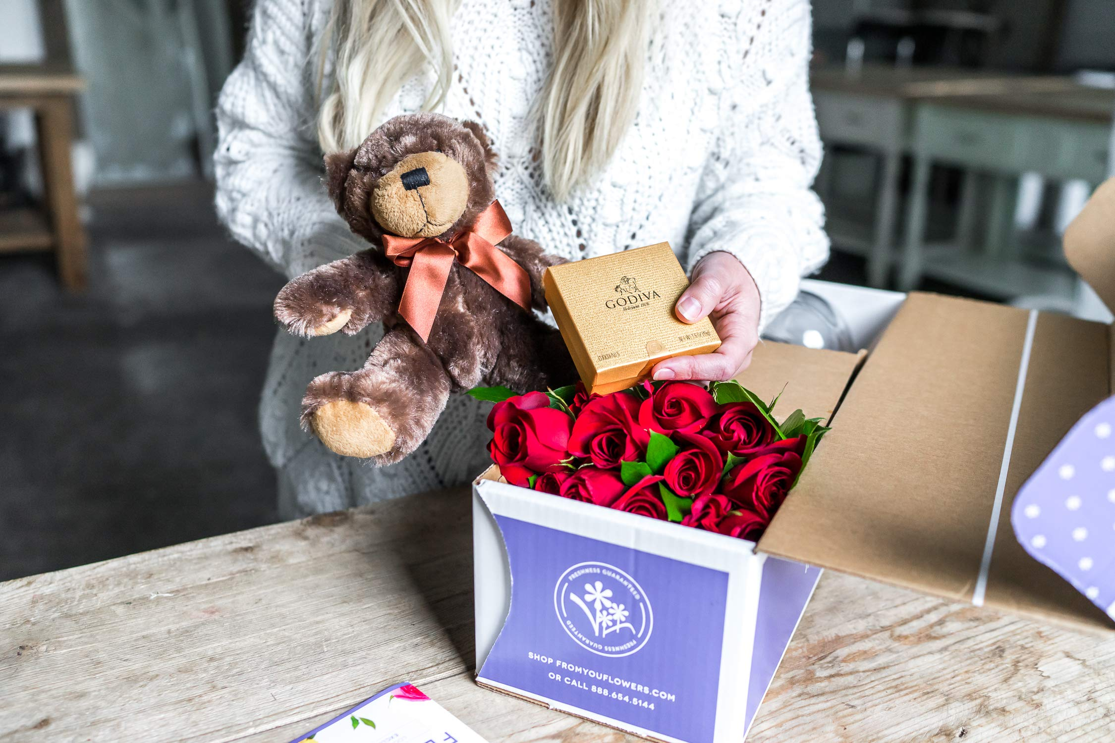 Flowers - Two Dozen Long Stemmed Red Roses with Godiva Chocolates & Bear (Free Vase Included) by From You Flowers (Image #3)