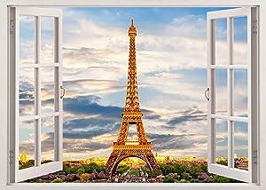 Fabulous Décor - Eiffel Tower Paris 3D Window View Wall Art Premium Vinyl Decal Sticker 20