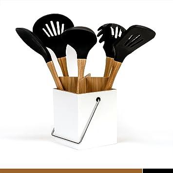 5 Piece Silicone Kitchen Utensil Set With Holder (Black)