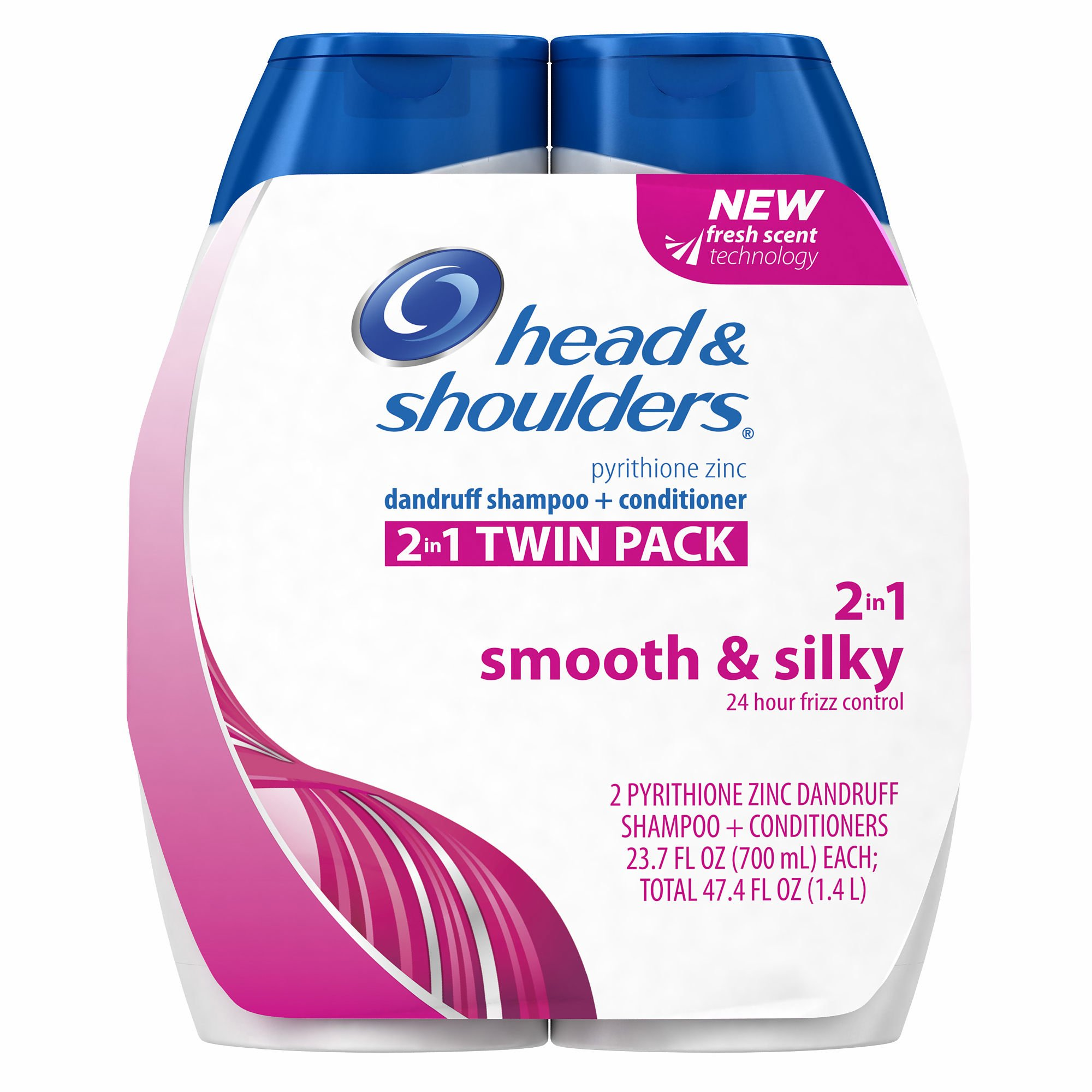 Head & Shoulders Smooth & Silky 24 Hour Frizz Control Twin Pack (pack of 6)