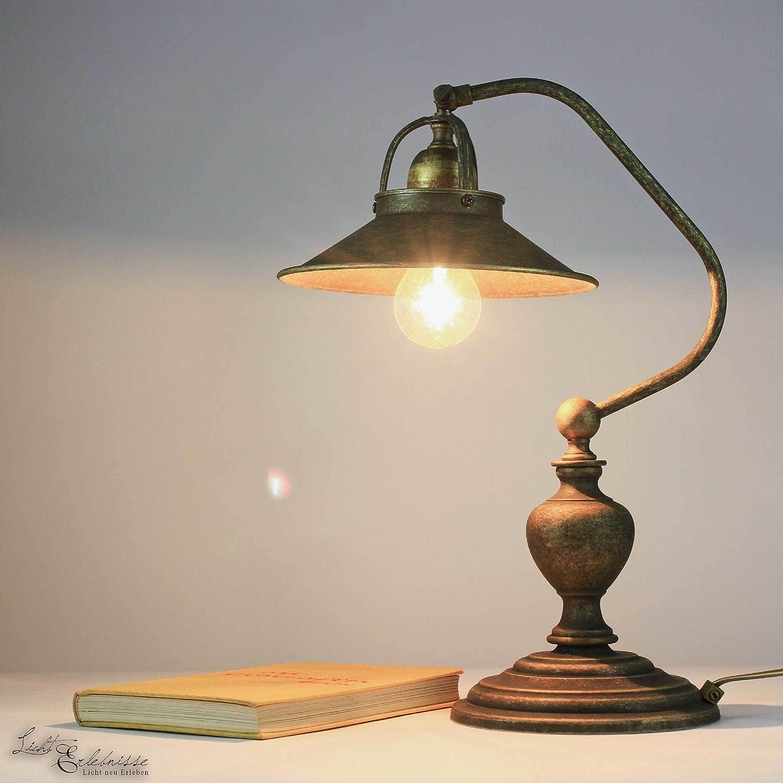 Antike Tischleuchte Country Made  aus Messing Messing Messing bronziert E27 Tisch-Lampe Wohnzimmer oder Schlafzimmer d98dd6