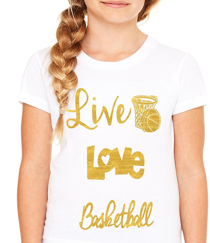 Live Love Basketball Shirt-Soft 100/% Cotton Girls Fitted Shirt White Queen Apparel