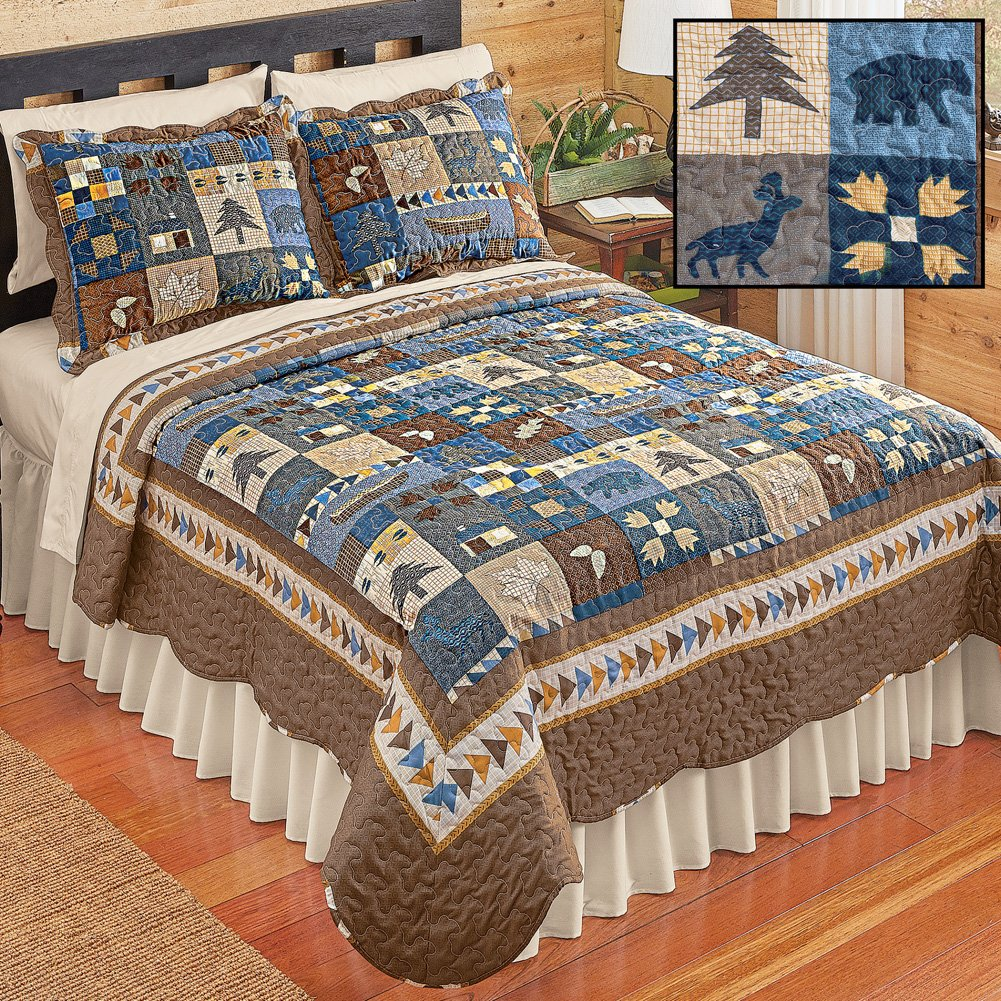 Collections Etc Woodlands Cabin Blue and Brown Patchwork Quilt, Bears, Moose, Pine Trees Décor, Blue Patchwork, Full/Queen by Collections Etc (Image #2)