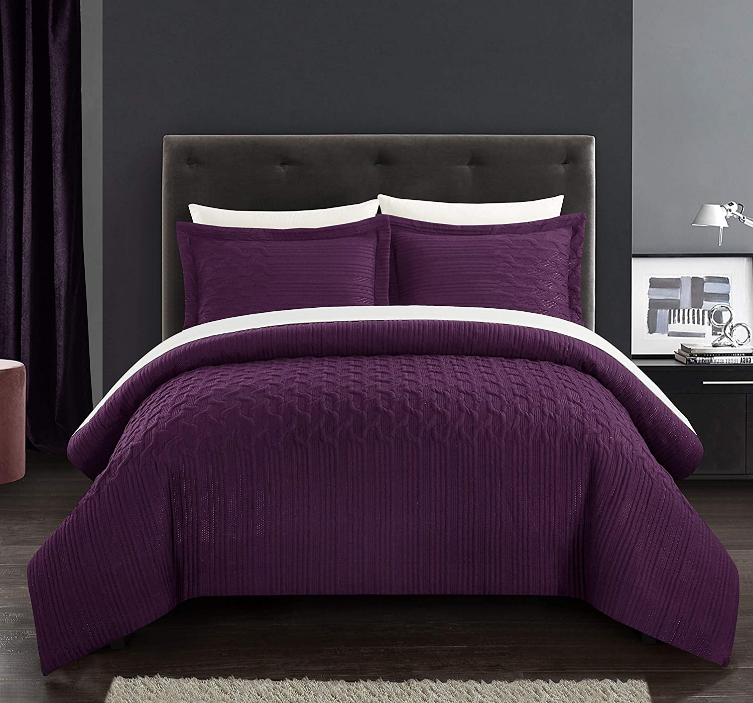 Chic Home Jazmine 3 Piece Comforter Set Embossed Embroidered Quilted Geometric Vine Pattern Bedding - Pillow Shams Included, Queen, Plum