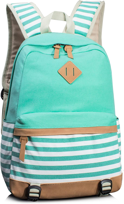 Leaper Navy Style School Laptop Backpack Girls Canvas Bookbag Water Blue