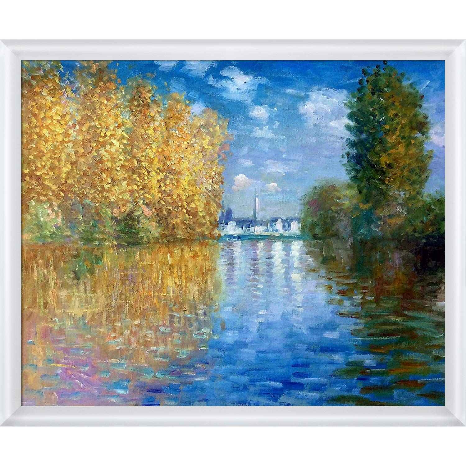 20X24 overstockArt MON981-FR-32094120X24 Autumn at Argenteuil with Moderne Blanc Framed Hand Painted Oil Reproduction Multi