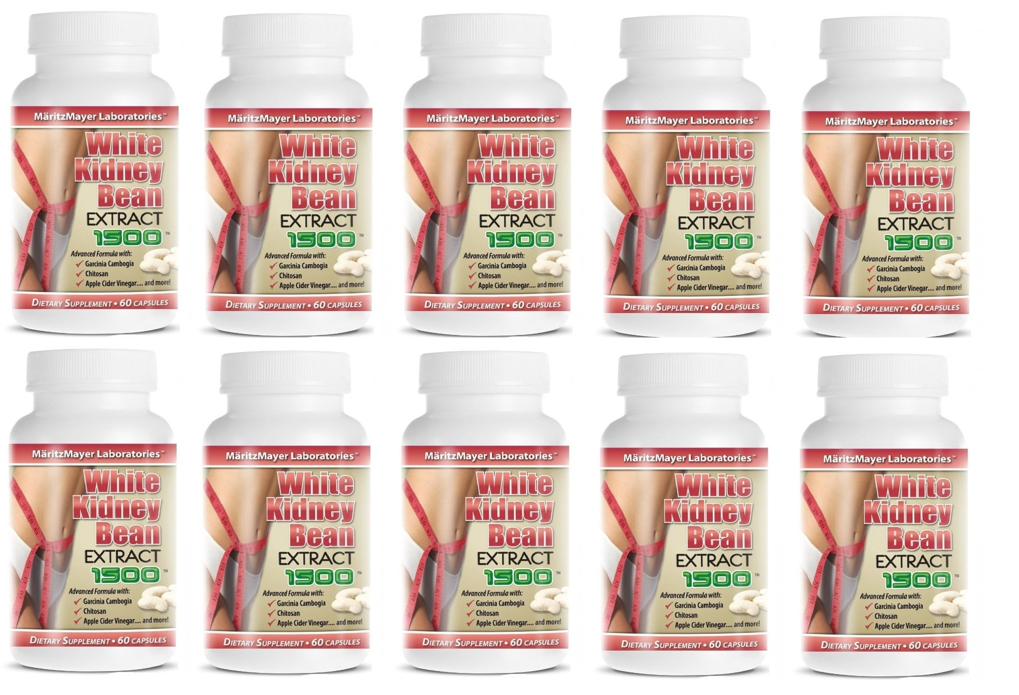 White Kidney Bean Extract w/ Garcinia Cambogia Weight Loss Fat Burner 1500mg 10 Bottles