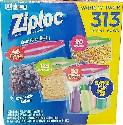 Bolsas Ziploc Ziploc con cierre superior (313 bolsas en ...