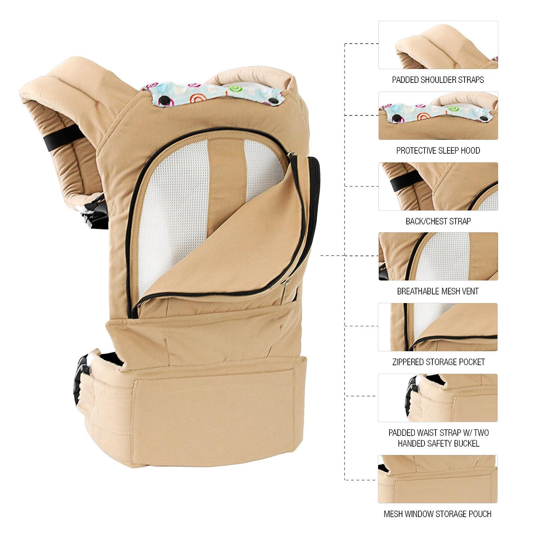 Mo m Ergonomic Baby Sling Carrier w Mesh Cooling Vent, Hood Pockets Desert Tan