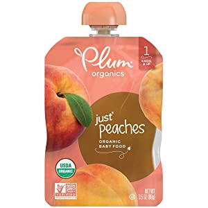 Plum Organics Stage 1 Organic Baby Food, Peach Puree, 3.5 Ounce Pouch (Pack of 12)