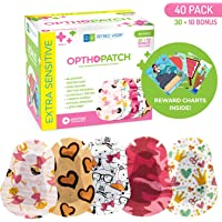 Kids Eye Patches - Fun Girls Design - 30 + 10 Bonus Latex Free Hypoallergenic Cotton Adhesive Bandages For Amblyopia and Cross Eye - Reward Chart Poster - Optho-Patch by Defined Vision