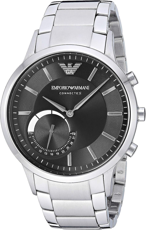 Emporio Armani Connected Hybrid-Smartwatch plata/negro: Amazon.es ...