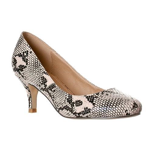 8dbb0854052 Riverberry Women's Ruby Round Toe, Kitten Low Height Pump Heels