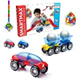 SmartMax Stunt Cars (Basic Stunt) STEM Magnetic Discovery Building Set with Moving Vehicles Featuring Safe, Extra-Strong, Ove