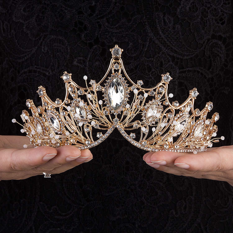 Gold colour crown Floral Crown Wedding Tiara Luxury Tiara Flowers and Pearls