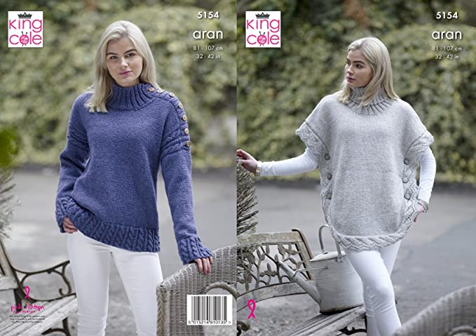 Womens Cabled Cowl or Round Neck Jumper Chunky Knitting Pattern King Cole 4857