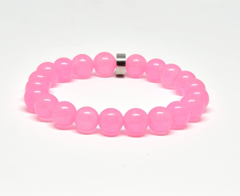 Genuine Pink Jade Stretch Bracelet