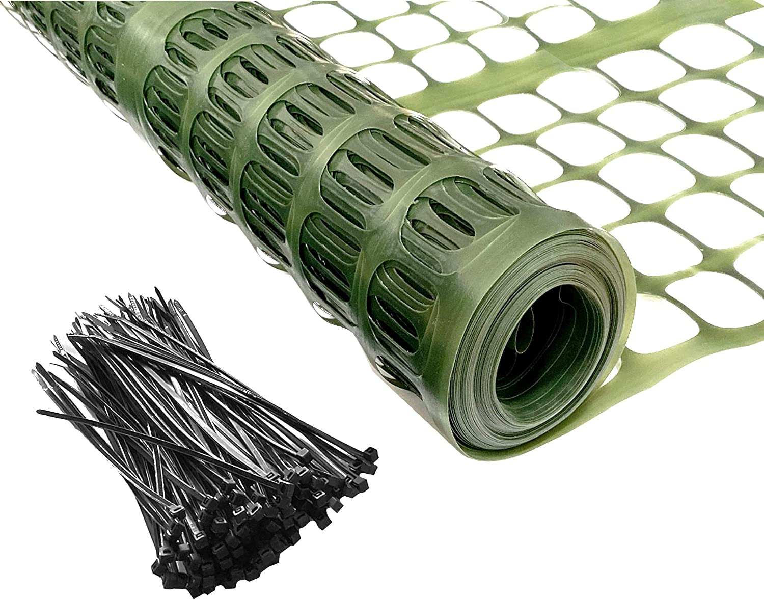 PeerBasics Patio Snow Garden Fencing, Lightweight Safety Netting, Recyclable Plastic Barrier Environmental Protection, Dark Green (with Zip Ties, 2 x 50)