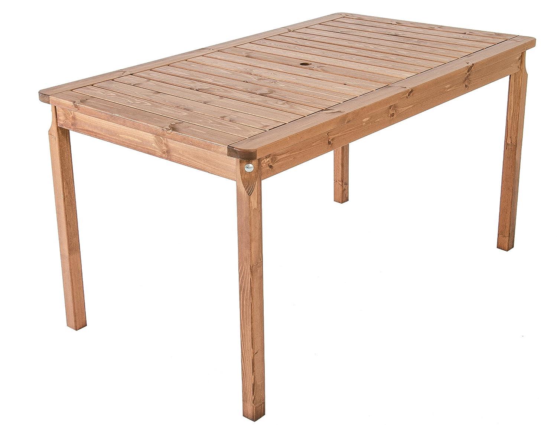Ambientehome Gartentisch Tisch Massivholz Esstisch EVJE, braun, ca. 135 x 70 cm