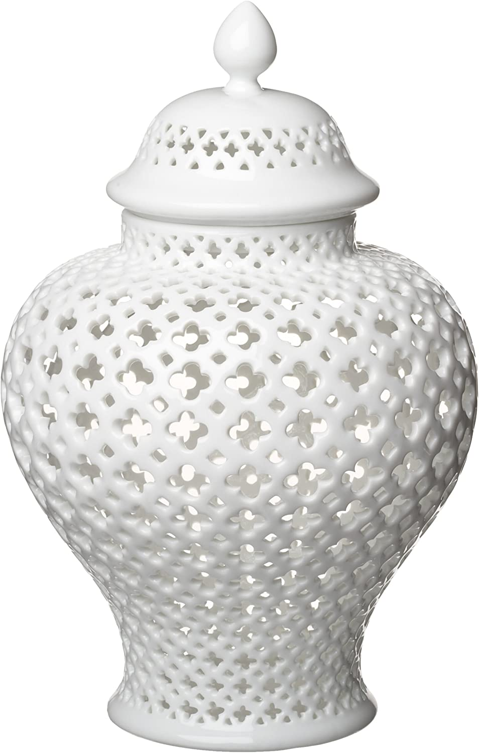 Two's Company Carthage Pierced Porcelain Lantern with Lid, White