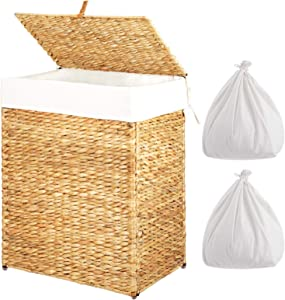 Greenstell Handwoven Seagrass Laundry Hamper with 2 Removable Liner Bag, Handwoven Laundry Basket with Lid and Handles, Foldable and Easy to Install Natural
