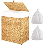 Greenstell Handwoven Water-Hyacinth Laundry Hamper with 2 Removable Liner Bag, Laundry Basket with Lid and Handles…